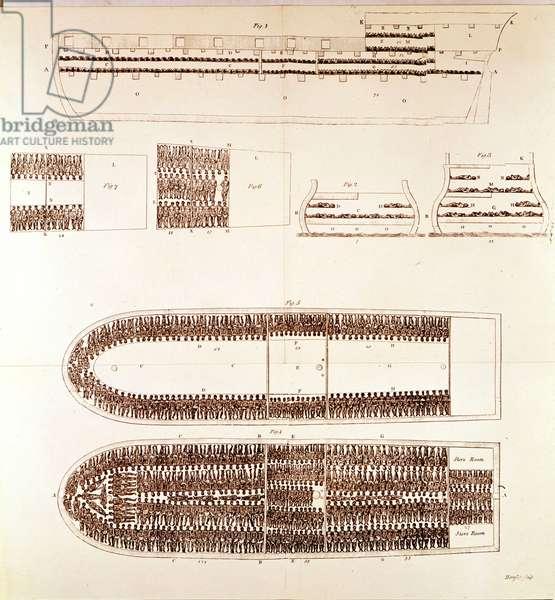 Cup of a slave trader showing the arrangement of slaves for transport.