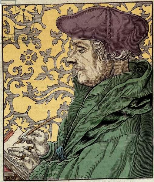 Portrait of Didier Erasme (Erasmus of Rotterdam) (1469 - 1536), Dutch humanist.