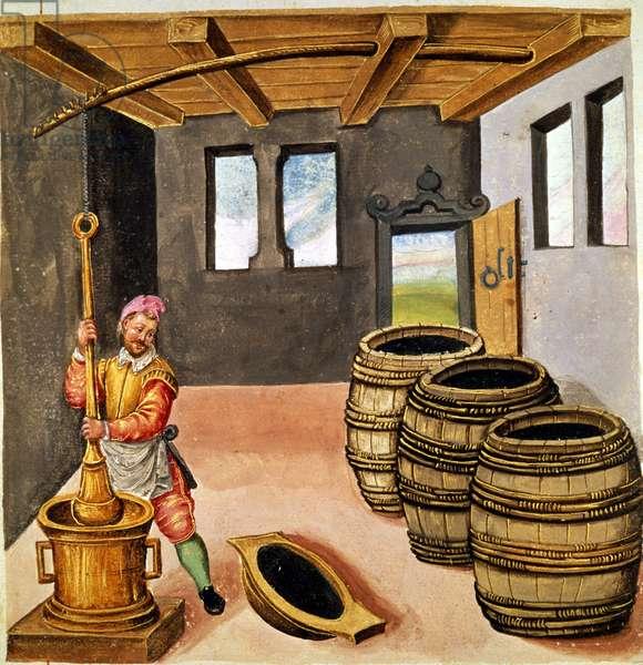 "Manufacture of black powder - in ""Manuale di pirotechnia, armeria e fortificazioni"""" of the 16th century."