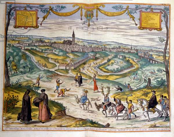 Map of the city of Seville in 1590. At the bottom right of the picture, the people of the village make fun of a cuckold on his donkey.