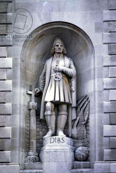 The Portuguese navigator Bartolomeu Dias (or Barthelemy Diaz or Bartolomeo) (1450-1500). Statue on the facade of the Indian House in Trafalgar Square in London.