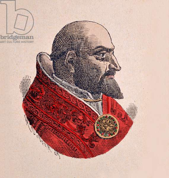 Portrait of the Pope Paul V (Paolo, Paulus or Camillo Borghese) (1605-1621), 1898 (engraving with later colouration)