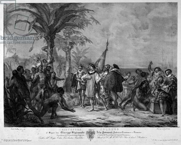 The landing of Christopher Columbus in San Salvador (Bahamas) on 12/10/1492. Engraving of the 19th century.