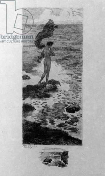 "Illustration by Georges Antoine Rochegrosse (1859-1938) for ""L'homme à la mer"" by the poet Charles Baudelaire (1821-1867) in ""Les fleurs du mal"", 1910"