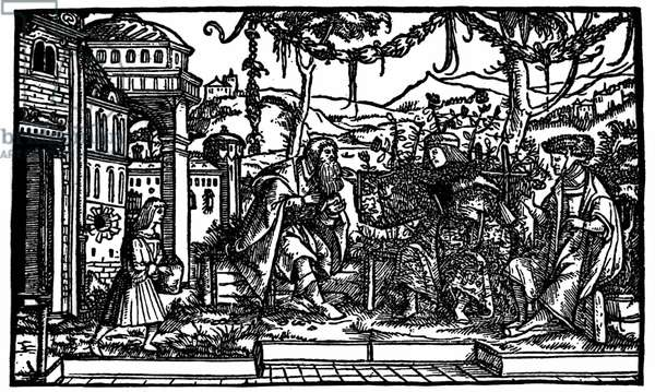 """Raphaël Hythlodée, a traveller who spent five years in Utopia, tells Thomas More and Pierre Gilles about his journey. Xylography published in the edition of """"Utopia"""" by Thomas More (1478 - 1535) of 1516."""