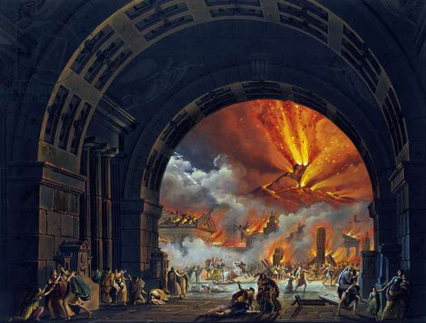 "The destruction of Pompei. (Vesuve eruption) Oil painting for the opera by Giovanni Pacini. ""The Last Day of Pompei."" 1817. Teatro alla Scala de Milan."