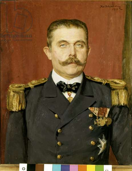 Portrait of Francois Ferdinand of Habsburg (1863 - 1914), Archduke of Austria. Painting by Karl Pochwalik, 1913. Vienna, Arsenal Museum.