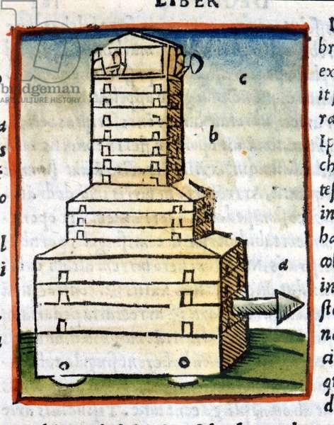 "Tortoise, tank - in """" De architectura"""" by Vitruva from 1630"