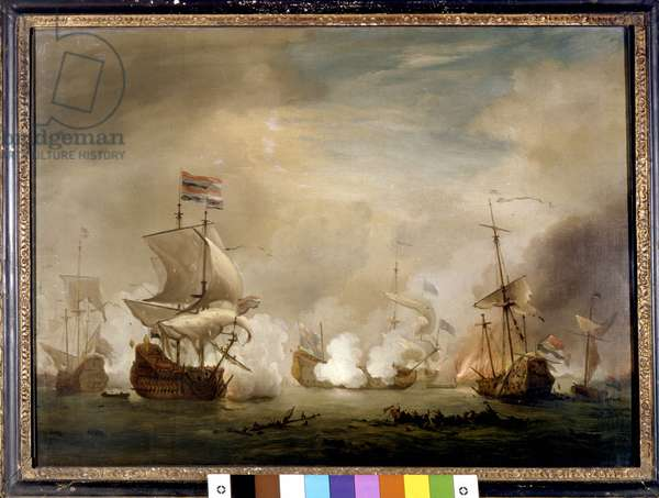 """Holland War: """""""" View of the naval battle of Texel on 11/08/1673"""""""" She opposed Holland to the French-English fleet. Painting by Willem van de Velde the Young (1633-1707) National Maritime Greenwich, London"""
