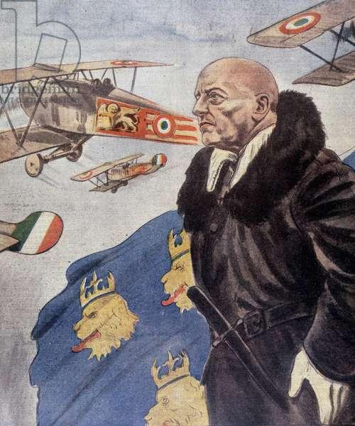 Portrait of Gabriele d 'Annunzio (colour litho)
