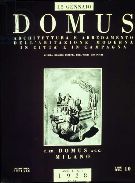 """First issue of the """"Domus"""" magazine of architecture and design directed by Italian architect and designer Gio Ponti, 15/01/1928"""