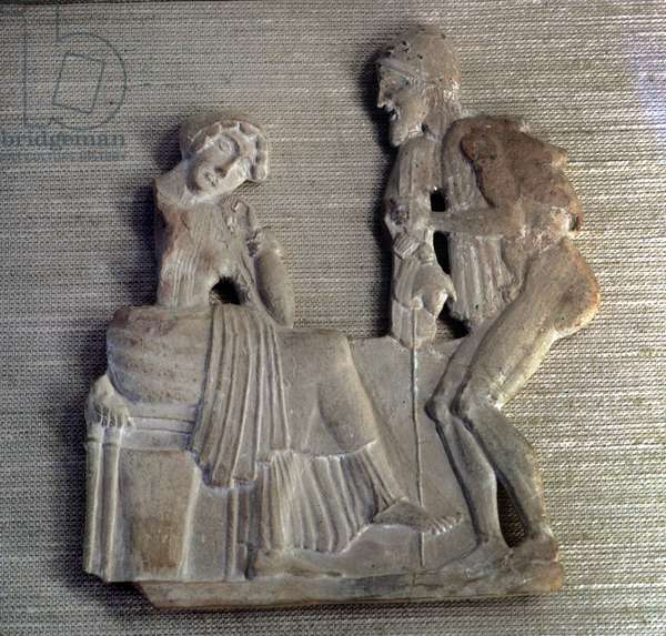 """Odysse d'Homere: """""""" Ulysses back to Penelope"""""""" Low relief from the 5th century BC. Paris, Louvre Museum"""