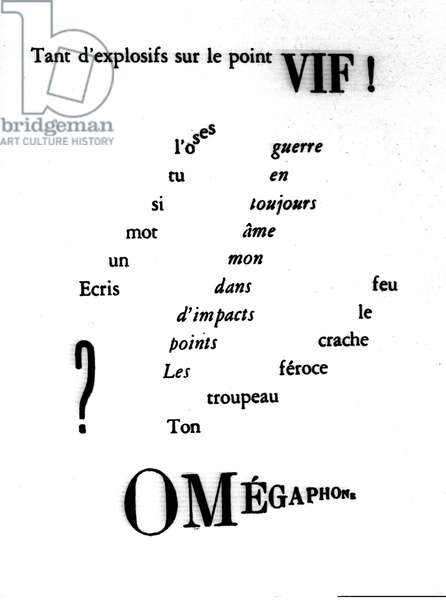 Calligram of William Apollinaire (1880-1918) referring to the First World War