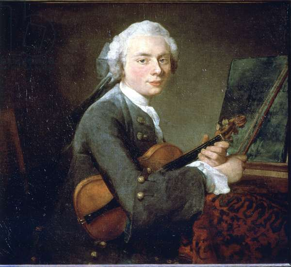 The Young Man in the Violin, circa 1738. Portrait of Charles Theodose Godefroy. Oil On Canvas by Jean Baptiste Simeon Chardin (1699 - 1789). Paris, Musee du Louvre.