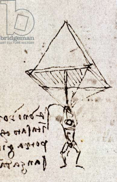 Draft of a parachute, circa 1485. Leonardo da Vinci (Leonardo da Vinci). Feather and ink. Codex Atlanticus, folio 1058.