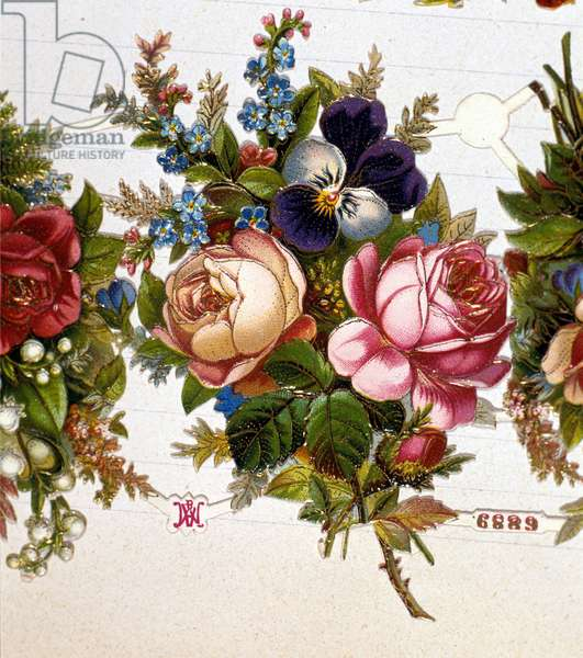 A bouquet mixed with roses, violets. 19th century chromolithography.