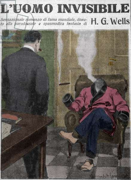 "Italian illustration for the novel ""The Invisible Man"" by writer H. G. (Herbert George) Wells (1866-1946)."