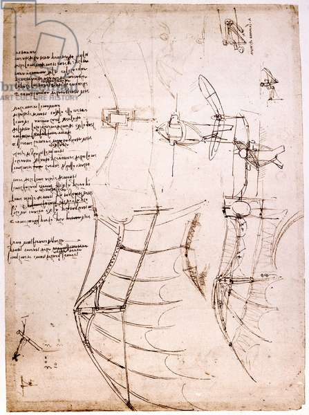 Study on wings. Codex Atlantic. Atlantic Codex, Drawing by Leonard de Vinci (Leonardo da Vinci) around 1499.