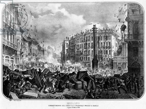 Risorgimento: The Five Days of Milan (Cinque giornate di Milano) (18-22 March 1848): this is one of the first episodes of the Revolutions of 1848 (part of the First Italian War of Independence) that saw the rise of the Milanese population insurgent against the Austrian occupation of Josef Radetzky. View of the barricades and fighting that took place on March 19 near Porta Orientale and San Babila. Engraving of the 19th century