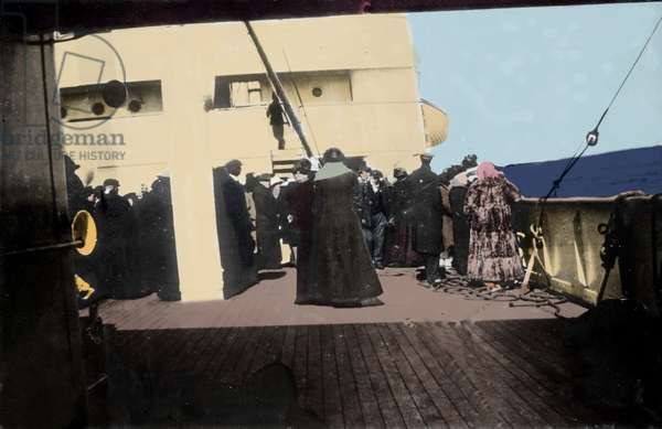 The survivors of the sinking of the Titanic aboard the ship Carpathia came to rescue them in April 1912. Photography