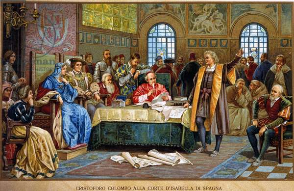 Christopher Columbus at the court of Isabella 1st of Spain, called the Catholic or Castile. Chromolithography of the 19th century.