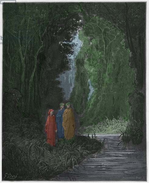 Purgatorio, Canto 28 : Dante, Virgil, and Statius (Stace) in the ancient forest of the terrestrial paradise, illustration from 'The Divine Comedy' by Dante Alighieri, 1885  (digitally coloured engraving)