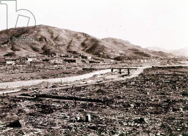 Nagasaki after the atomic bombing in 1945.