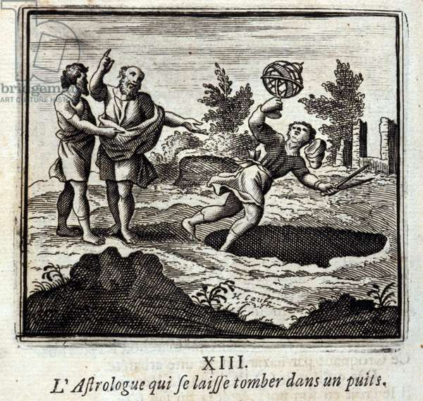 The astrologer who drops into a well. Fables by Jean de La Fontaine (1621-95). Illustration by François Chauveau (1613-1676). Edition of 1728.
