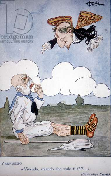 "Satirical postcard of Orsi on the flight over Vienna by Gabriele D'annunzio (1863 - 1938): in 1918 he made a flight of more than 1000 km and released leaflets over the Austrian capital: the poet is represented in a butterfly above Emperor Francois Joseph I (1830-1916) who holds a net to catch him. He died at that moment, from where the legend """" Living, stealing what harm can I do to you?..."""