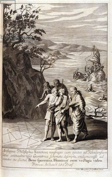 """Representation of Aristipus of Cyrene (435-356 BC) Greek philosopher disciple of Socrates, after the shipwreck that threw him on the coast of Rhodes, he discovers geometric traces on the sand. Engraving from Book XV of Euclid's """"Elements"""". 1591"""