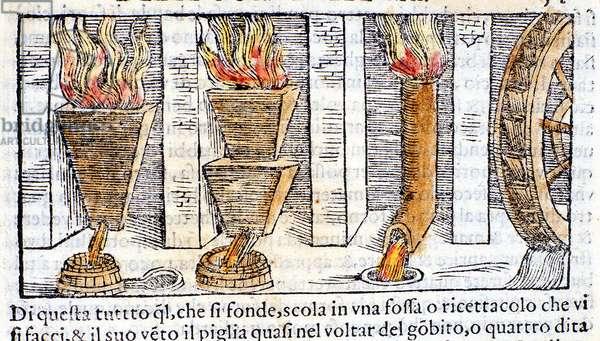 """Blast furnace - in """"Pirotechnica"""" of Biringuccio, 1558."""