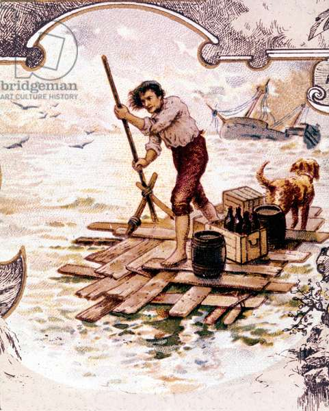 Robinson Crusoe and his dog on a raft survived the shipwreck and arrived on Deserte Island. chromolithographafter the novel by Daniel Defoe or De Foe (1660-1731)