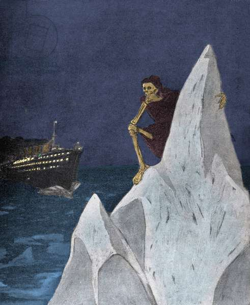 Allegory representing Death as a skeleton sitting on the iceberg caused the Titanic disaster in April 1912. Illustration of E. Wilke