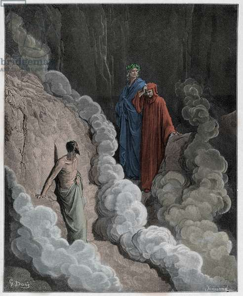 Purgatorio, Canto 16 : Dante speaks to the soul of Marco Lombardo, illustration from 'The Divine Comedy' by Dante Alighieri, 1885  (digitally coloured engraving)
