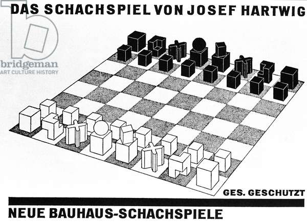 Map of the chess game of Josef Hartwig (1880 - 1956), member of the Bauhaus. 1923 - 1924.