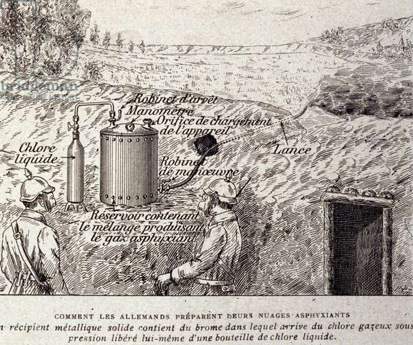 How the Germans prepare their asphyxiating clouds: a solid metal container contains bromine in which pressurized chlorine gas comes from a liquid chlorine bottle. Plate illustrated from a treaty on the use of weapons. Engraving of a treaty on chemical warfare, 1915.