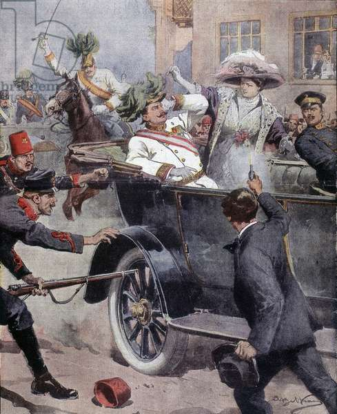 """Assassination of Archduke Francois-Ferdinand (Franz Ferdinand or Francois Ferdinand) and Duchess his wife in Sarajevo - in """""""" la Domenica del Corriere"""""""""""" of 12/07/1914 Assassination of Franz Ferdinand, 1863-1914 Archduke of Austria, and his wife Sophie, in Sarajevo, Bosnia, 28 June 1914,"""