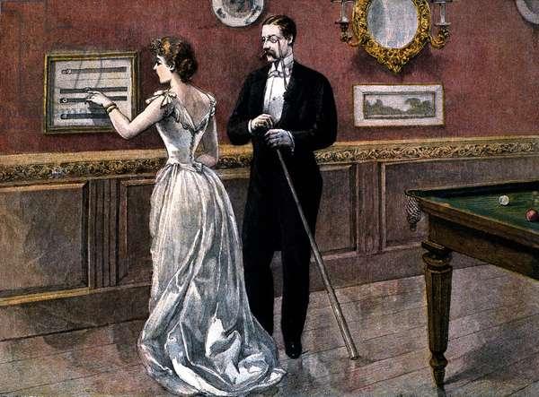A Winning Hazard, scene 1: seduction scene around a pool table: attempt to meet. Illustration of St. Reichan, 1887