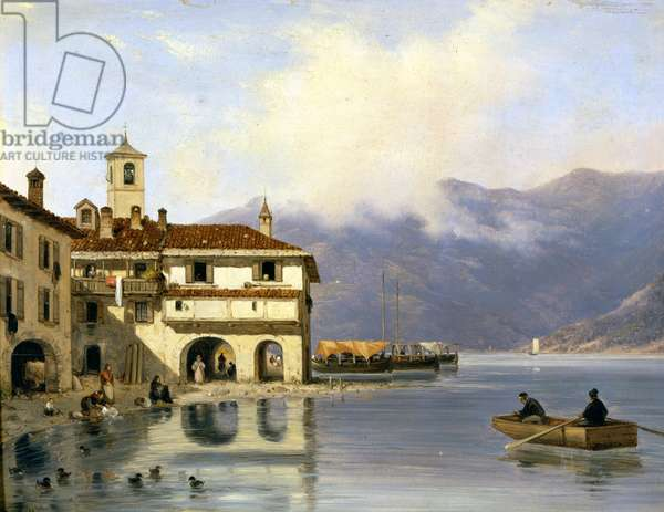 Como. Shore and port of Menaggio (1850). Painting by Canella. Menaggio (Como), .