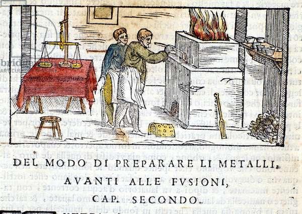 "Preparation of metal for melting - in ""Pirotechnia"""" of Biringuccio, 1558."