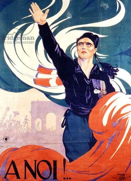 """Affiche de propagande fasciste : """"""""A noi"""""""". Un homme avec une chemise noir fait le salut fasciste - realisee par A. Ballester"""