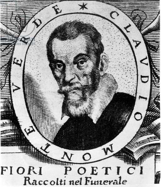 Portrait of Claudio Monteverdi (1567 - 1643) after the frontispiece of Fiori poetici raccolti nel funerale del molto illustrious e molto reverendo Signor Claudio Monteverdi, published in Venice in 1644.