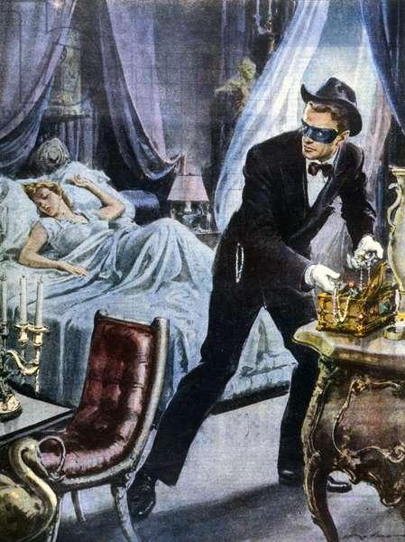 Voleur de bijoux en pleine nuit à Paris en 1950. illustration de Walter Molino