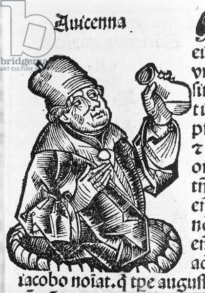 Abu Ali al Husain ibn Abdallah ibn Sina (Avicenna).Avicenna (980-1037), Iranian doctor. Wood engraving. 16th century.