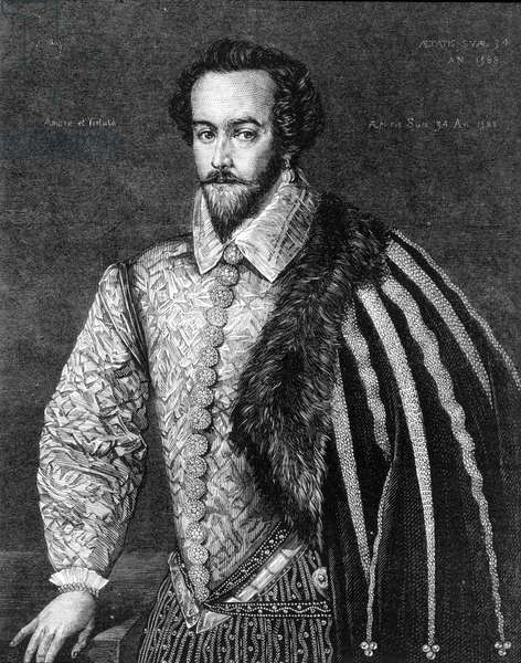 Portrait of Sir Walter Raleigh (1554 - 1618), English navigator, courtier, and writer. Engraving after a painting attributed to Federico Zuccaro (or Zuccari) (1549 - 1609) of 1588.
