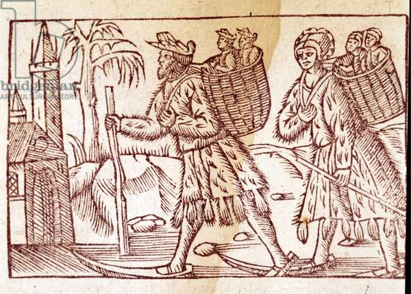 """A family of Norwegians travelling on skis. Engraving by Olaus Magnus (1490 - 1557), Swedish religious and geographer, """"Historia de Gentis Septentrionalibus"""", Venice, 1567."""