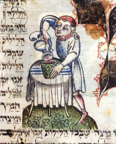 A domestic servant pouring wine (vellum)
