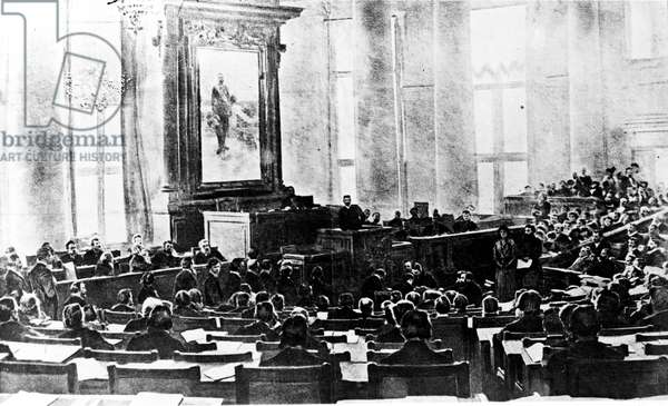 Russian Revolution: Meeting of the Duma in 1917. Illustration of the 20th century