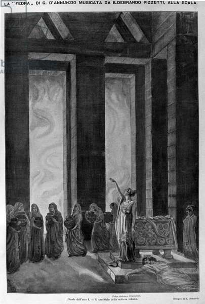 """The sacrifice of the Theban slave The character of Fedra is interpreted by Salomea Krusceninski. Illustration of Act I of """""""" Fedra"""""""" lyrical work written by Gabriele d'Annunzio and put to music by the composer Ildebrando Pizzetti (1880-1968) during his performance at the Scala Theatre in Milan. Engraving"""