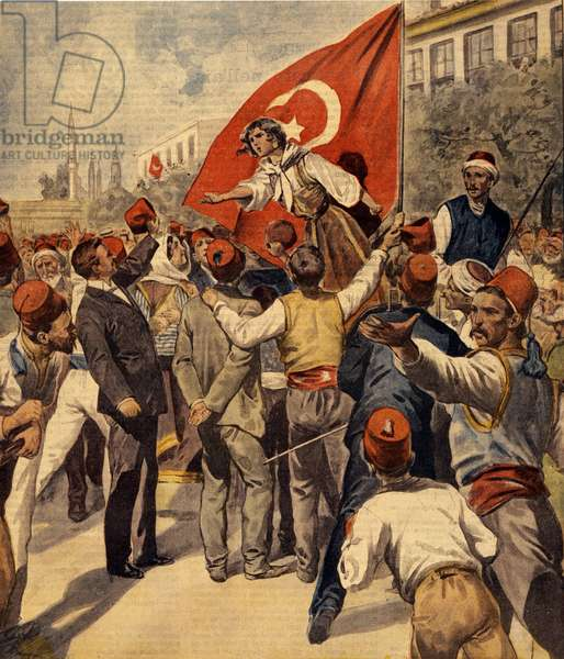 """Demonstrations for the emancipation of women after the proclamation of the Constitution in Turkey by Sultan Abdulhamid II (Abd ul Hamid, Abd-ul-Hamid, Abdulhemit, Abdul Hamid, Abd al-Hamid, Abd al-Hamid) Illustration from """"La Domenica del Corriere"""", 1908"""
